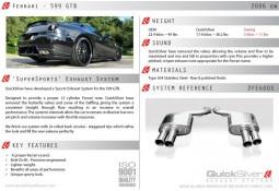 Echappement sport Inox QuickSilver SuperSport pour Ferrari 599 GTB (2006-2012)