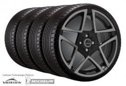 """Pack jantes et pneus Jante Carlsson 7,0x17"""" Design 1/5 Revo 3 Dark Series pour Smart ForTwo (C453)"""
