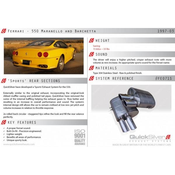 Echappement QUICKSILVER Ferrari 550 (1997-2003) -Silencieux Sport