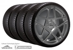 """Pack jantes et pneus Jante Carlsson 7,0x17"""" Design 1/5 Revo 3 Titanium Edition pour Smart ForTwo (C453)"""