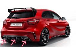 Diffuseur de pare-chocs arrière + embouts échappements A45 AMG pour Mercedes Classe A (W176) Pack AMG (06/2015-)