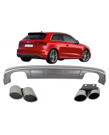 Diffuseur + Embouts look S3 8V pour Audi A3 8V Coupé & SportBack (2012-2015)(Non S-LIne)
